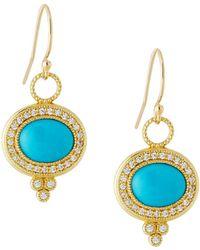 Jude Frances 18K Provence Pavé Diamond & Turquoise Oval Dangle & Drop Earrings 8gcuQ0z1gG