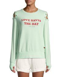 Peace Love World - Cinthia Love Slogan Tie-shoulder Sweatshirt - Lyst