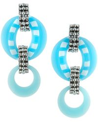 DANNIJO - Armie Hoop & Link Drop Earrings Blue - Lyst