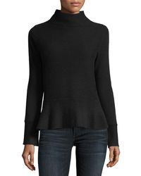 Neiman Marcus - Ribbed Mock-neck Cashmere Peplum Sweater - Lyst
