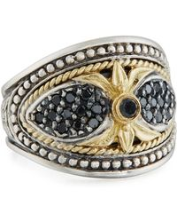 Konstantino - Asteri Ornate Wide Black Diamond Band Ring - Lyst