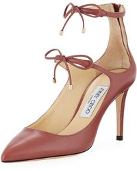 c6283de225f Jimmy Choo - Woman Sage 85 Bow-embellished Leather Pumps Antique Rose - Lyst