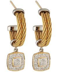 Alor - Classique Steel & 18k Diamond Cushion Drop Earrings - Lyst