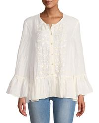 Leon Max - Sequined Bell-sleeve Button-front Blouse - Lyst