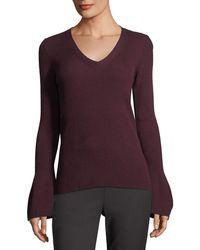 Tahari - V-neck Bell-sleeve Ribbed Sweater - Lyst