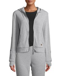 Peace Love World - Star-print Sleeve Ribbed Zip-front Hoodie - Lyst