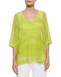 Joan Vass - Mesh Striped Sweater Plus Size - Lyst