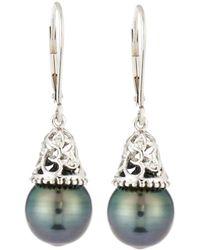 Belpearl - 14k White Gold Filigree Drop & Pearl Earrings - Lyst