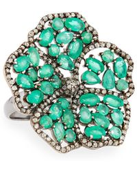 Bavna - Silver Flower Cocktail Ring With Emeralds & Diamonds - Lyst