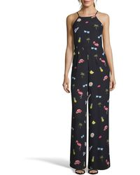 Nicole Miller - Summer-print High-neck Jumpsuit - Lyst