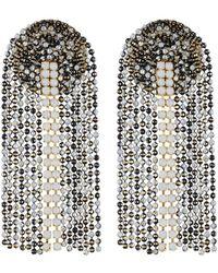 Serefina - Fringe Drop Post Earrings Black/white - Lyst