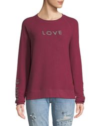 Peace Love World - Comfy Chenille Long-sleeve Slogan Top - Lyst