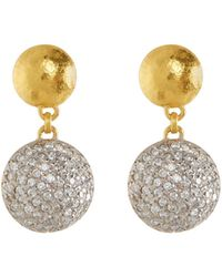 Gurhan - Lentil Ice 24k Gold & Diamond Drop Earrings - Lyst