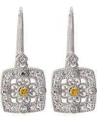 Judith Ripka | Square Crystal & Sapphire Filigree Drop Earrings | Lyst