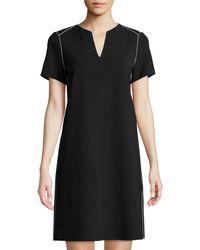 Lafayette 148 New York - Ezra Contrast-piped Short-sleeve Dress - Lyst