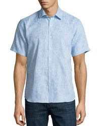 Neiman Marcus - Geometric-jacquard Short-sleeve Sport Shirt - Lyst