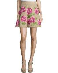 Michael Kors - Floral Embroidered Flirt Skirt - Lyst