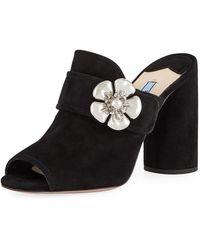 35e26e253ef0 Prada - Flower-strap Suede 100mm Mule Sandal - Lyst