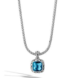 John Hardy - Classic Chain Pendant Necklace In Silver With 8mm Gemstone - Lyst