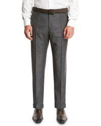 Zanella Super 130s Wool Sharkskin Pants - Gray