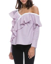 English Factory - Asymmetrical Cold-shoulder Ruffled Blouse - Lyst