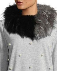 Adrienne Landau - Silver Fox Muffler Collar Black - Lyst