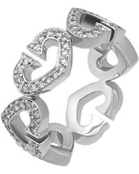 Cartier - Estate 18k Pave Diamond C-heart Ring - Lyst