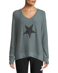 Peace Love World - Comfy V-neck Energy Flows Slogan Top - Lyst