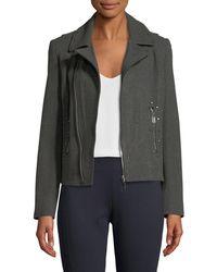 T Tahari - Studded Knit Moto Jacket - Lyst