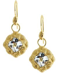 Jude Frances | 18k White Topaz Quilted Pillow Earring Charms | Lyst