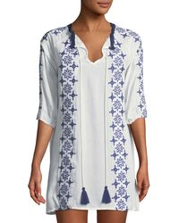 Haute Rogue - Embroidered Boho Shift Dress - Lyst