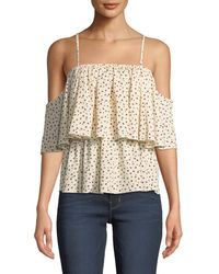 Bishop + Young - Lilly Tiered Floral Cold-shoulder Blouse - Lyst