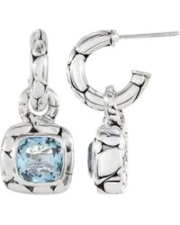 John Hardy - Blue Topaz Square Drop Hoop Earrings - Lyst