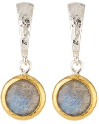 Gurhan - Small Wide Hoop Earrings W/ Labradorite Drop - Lyst