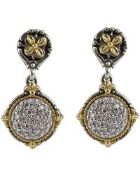 Konstantino - Asteri Pave White Diamond Round Double-drop Earrings - Lyst
