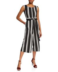 6aa70d28fbe9 Lyst - Almost Famous Vertical Stripe Crepe Jumpsuit in Blue
