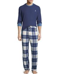 Psycho Bunny - Men's Logo Long-sleeve Flannel Pajama Set - Lyst