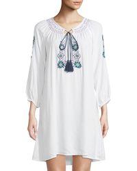 Raj - Long-sleeve Embroidered Peasant Dress - Lyst