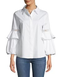 Laundry by Shelli Segal - Lace-embroidered Button-front Blouse - Lyst