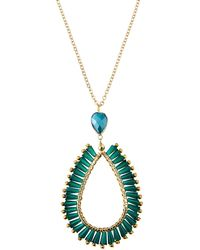 Panacea - Green Crystal Teardrop Pendant Necklace - Lyst