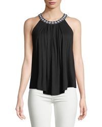 Neiman Marcus - Embroidered Halter Neck Blouse - Lyst