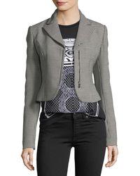 Ralph Lauren Collection - Fabiana Zip-front Cropped Houndstooth Wool Jacket - Lyst