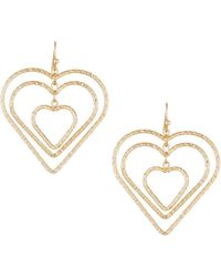 Fragments - Interlocking Heart Drop Earrings - Lyst