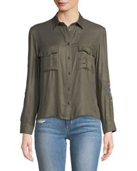 Dex - Embroidered Cropped-button Front Blouse - Lyst