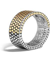 John Hardy - Dot 18k Gold & Silver Hinged Bangle Size M - Lyst