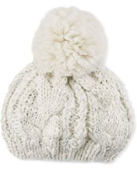 Neiman Marcus - Chunky Cable Knit Beret With Pompom - Lyst