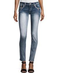 Grace In La - Embroidered Skinny Denim Jeans - Lyst