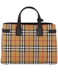 Burberry - Vintage Check Medium Banner Tote Bag - Lyst