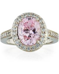 Fantasia by Deserio - Pink Cubic Zirconia Oval Ring - Lyst