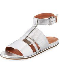 aa0324e06c4e Gentle Souls - Ophelia Easy Flat Metallic Sandal With Stretch Strap - Lyst